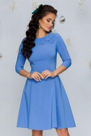 Rochie eleganta in clos cambrata bleu din stofa cu insertii florale 3D LaDonna