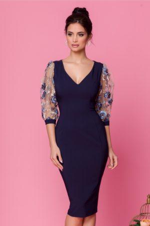 Rochie de seara bleumarin mulata pe corp cu maneci bufante din tull cu broderie florala LaDonna