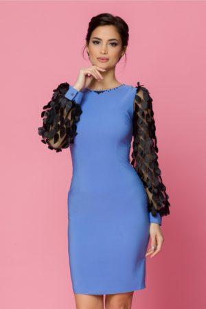 Rochie midi bleu conica eleganta cu maneci lungi din tull negru LaDonna