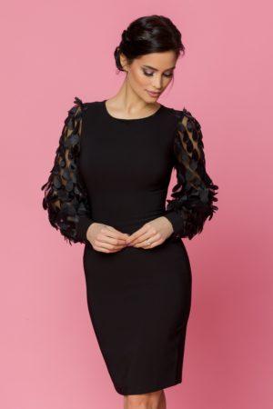 Rochie midi neagra conica eleganta cu maneci lungi din tull negru LaDonna