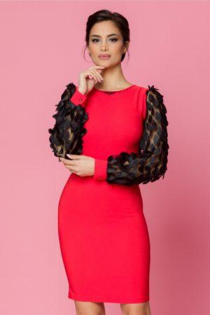 Rochie midi rosie conica eleganta cu maneci lungi din tull negru LaDonna