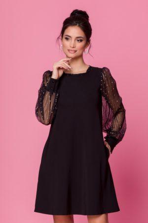 Rochie scurta neagra eleganta de ocazie accesorizata cu tull si sclipici LaDonna