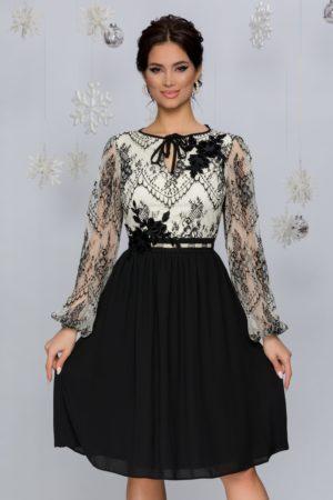 Rochie de seara neagra eleganta cu dantela Chantilly LaDonna