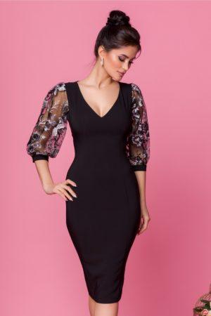 Rochie de seara neagra mulata pe corp cu maneci bufante din tull cu broderie florala LaDonna
