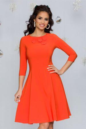 Rochie eleganta in clos cambrata portocalie din stofa cu insertii florale 3D LaDonna