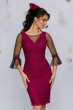 Rochie de lux magenta de ocazie eleganta accesorizata cu tull si paiete Leonard Collection