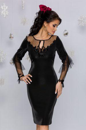 Rochie de ocazie neagra de lux mulata pe corp din material cu insertii de tull Leonard Collection