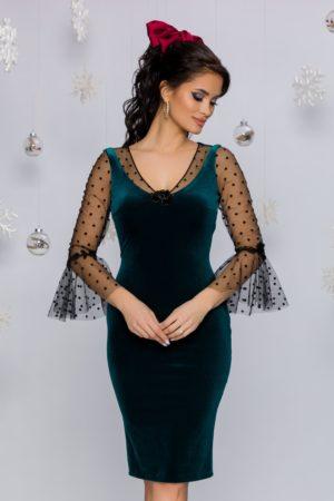 Rochie de seara de lux verde din catifea cu maneci din tull si broderie Leonard Collection