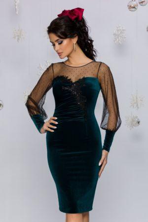 Rochie de lux verde inchis eleganta cu strass-uri si broderie Leonard Collection