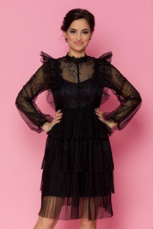 Rochie midi neagra din dantela eleganta cu fusta din tull diafan Lidia