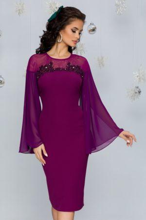 Rochie de seara mov eleganta cu maneci lungi din voal evazat si insertii de strass-uri Lora