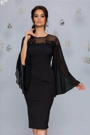 Rochie de seara neagra eleganta cu maneci lungi din voal evazat si insertii de strass-uri Lora