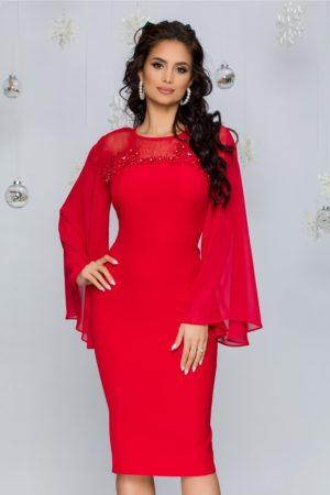 Rochie de seara rosie eleganta cu maneci lungi din voal evazat si insertii de strass-uri Lora