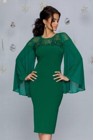 Rochie de seara verde eleganta cu maneci lungi din voal evazat si insertii de strass-uri Lora