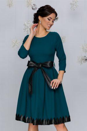 Rochie de ocazie in clos verde petrol eleganta cu detalii din piele Loraine