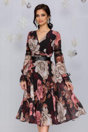 Rochie de primavara neagra  midi in clos cu imprimeuri florale roz si bej Luiza