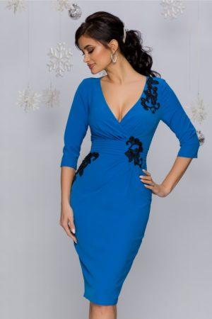 Rochie MBG albastra midi eleganta cu broderie florala cu paiete