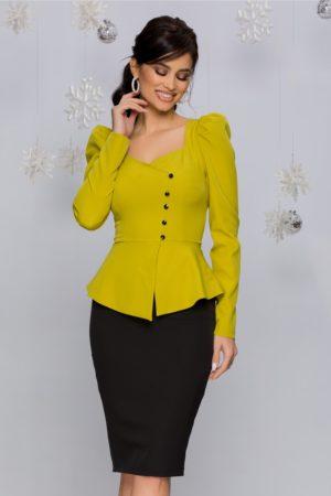 Rochie eleganta midi de ocazie galben cu negru cu peplum si nasturi mici MBG