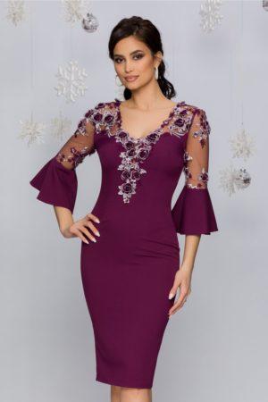 Rochie de seara mov eleganta midi cu maneci accesorizate cu broderie florala MBG