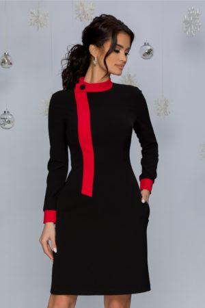Rochie de zi office neagra cu croi drept prevazuta cu maneci lungi cu mansete rosii MBG