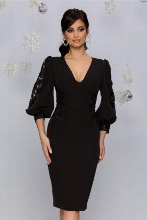 Rochie midi eleganta neagra cu maneci bufante si broderie florala accesorizata cu paiete MBG