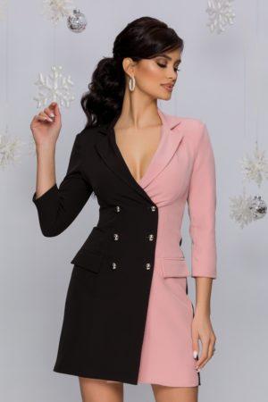 Rochie office eleganta tip sacou negru cu roz accesorizata cu nasturi MBG