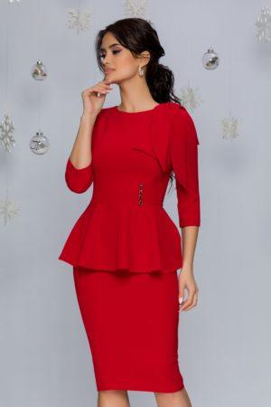 Rochie de seara rosie midi cu peplum in talie si maneci trei sferturi MBG