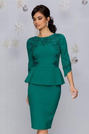 Rochie de ocazie verde cu peplum accesorizata cu broderie florala cu paiete MBG