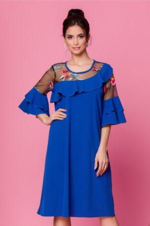 Rochie lejera de ocazie albastra cu broderie florala colorata si maneci cu volanase Maia