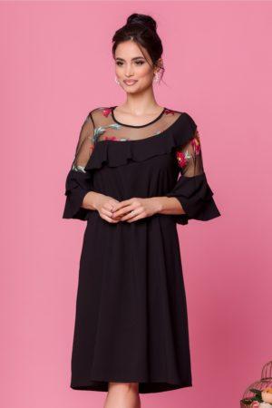 Rochie lejera de ocazie neagra cu broderie florala colorata si maneci cu volanase Maia