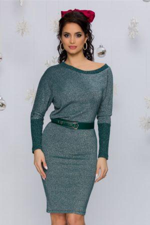 Rochie verde asimetrica din jerse cu lurex prevazuta cu maneci lungi Marge
