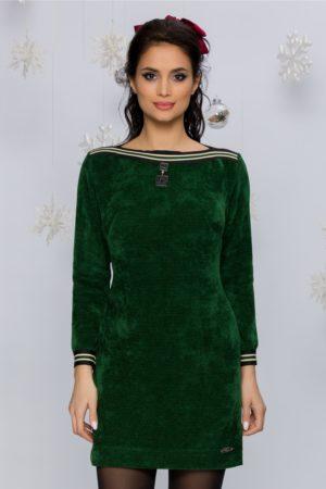 Rochie de ocazie verde smarald reiata cu benzi elastice decorative Mari