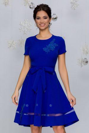 Rochie de ocazie albastra cu broderie florala si aplicatii de strass-uri si perlute delicate Maria