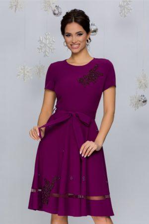 Rochie de ocazie mov cu broderie florala si aplicatii de strass-uri si perlute delicate Maria