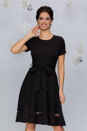 Rochie de ocazie neagra cu broderie florala si aplicatii de strass-uri si perlute delicate Maria