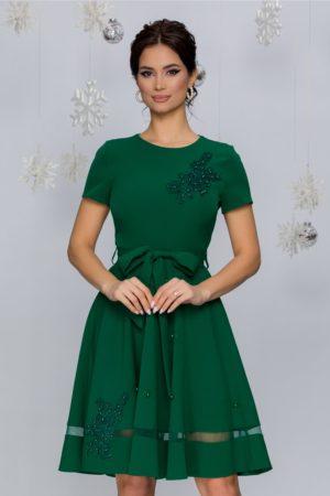 Rochie de ocazie verde cu broderie florala si aplicatii de strass-uri si perlute delicate Maria