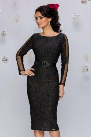 Rochie de ocazie neagra midi cu maneci lungi accesorizata cu o curea lata Marisa