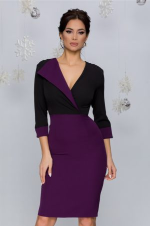 Rochie eleganta de zi office negru cu mov si curea in talie Mary