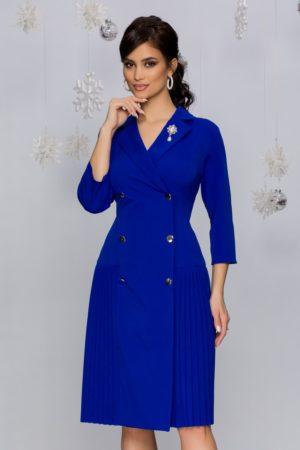 Rochie midi eleganta albastru regal stil sacou cu doua randuri de nasturi Masha