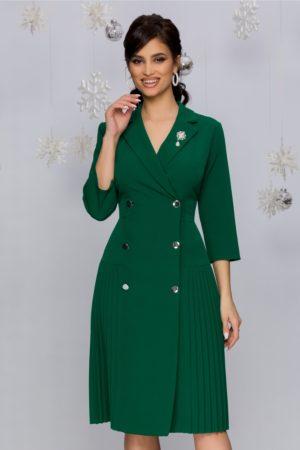 Rochie midi eleganta verde pin stil sacou cu doua randuri de nasturi Masha