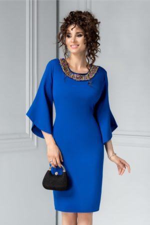 Rochie de ocazie midi conica albastra cu aplicatii colorate la decolteul rotund Maura