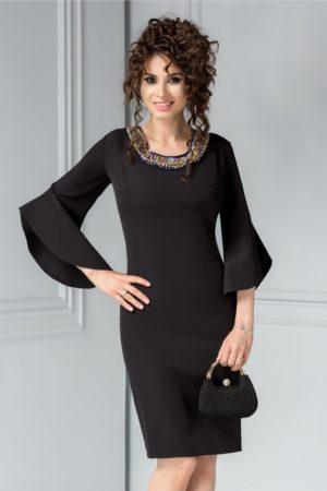 Rochie de ocazie midi conica neagra cu aplicatii colorate la decolteul rotund Maura