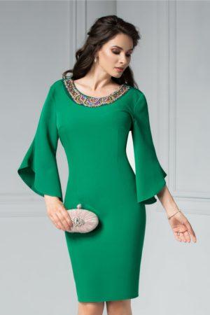 Rochie de ocazie midi conica verde deschis cu aplicatii colorate la decolteul rotund Maura