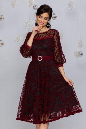 Rochie de seara neagra din tull cu insertii catifelate bordo Meggie