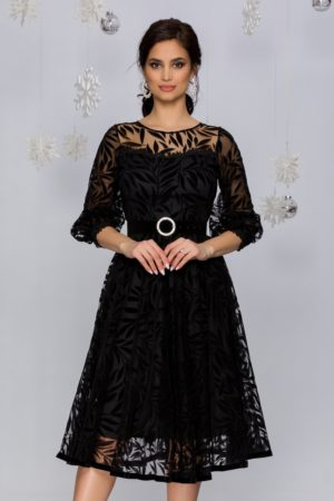 Rochie de seara neagra din tull cu insertii catifelate si accesoriu in talie Meggie