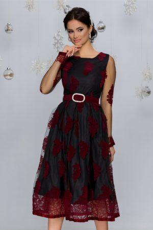 Rochie de seara neagra din tull cu insertii florale catifelate bordo Meghan