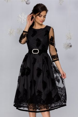 Rochie de seara neagra din tull cu insertii florale catifelate negre Meghan