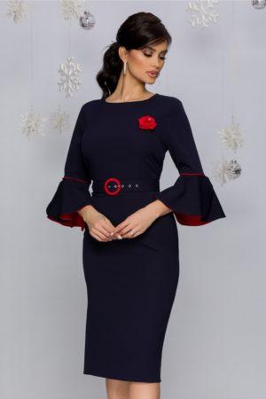 Rochie eleganta bleumarin cu maneci clopot accesorizata cu curea in talie Millie