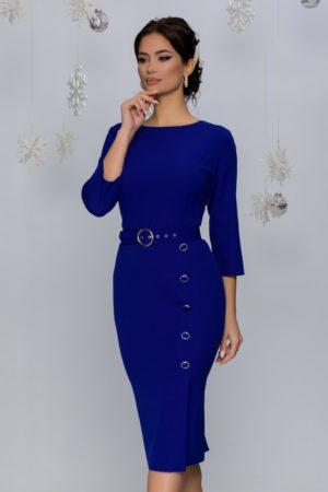 Rochie midi de ocazie albastra cu nasturi fantezie decorativi Mira