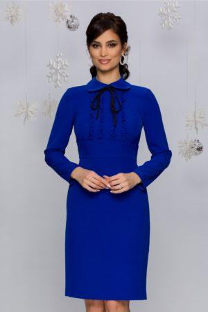 Rochie de ocazie albastra midi conica accesorizata cu volanase si maneci lungi Moze